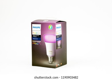 Bucharest, Romania: September, 2018 - Philips Hue White and color ambiance Single bulb E26. The Hue system was released in October 2012.