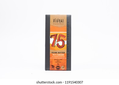 Bucharest / Romania - September, 2018: Vivani Dark with 75 % Cocoa (80 g) bar. Mild and natural with character, thanks to finest Panama cocoa and coconut blossom nectar.