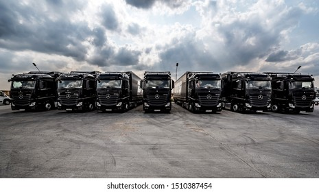 BUCHAREST ROMANIA September 21 2019 Black Mercedes-Benz Actros 1845 Euro 6 truck trailer in traffic. Mercedes-Benz Actros wins The Green Truck Award 2015.