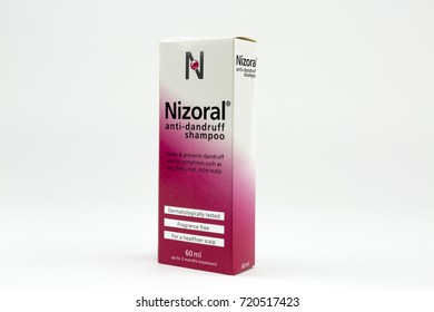 BUCHAREST, ROMANIA - September 23, 2017: Box of Nizoral anti-dandruff shampoo 60 ml. Nizoral is by far the most well-known ketoconazole shampoo.