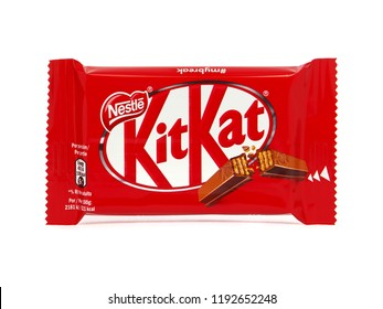 BUCHAREST, ROMANIA - SEPTEMBER 24, 2018. Kit Kat chocolate wafer bar isolated on white. Kit Kat bars are produced by Nestle.