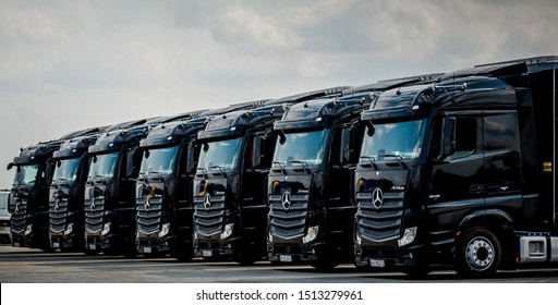 BUCHAREST ROMANIA September 24 2019 Black Mercedes-Benz Actros 1845 Euro 6 truck trailer in traffic. Mercedes-Benz Actros wins The Green Truck Award 2015