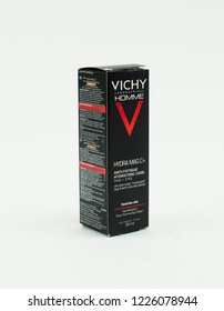 Bucharest, Romania - September 26th 2018: VICHY HOMME hydra magic hydrating cafe face and eyes creme pack.