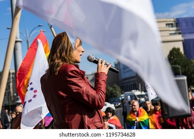 Bucharest, Romania, September 30, 2018. Transgender giving a speech during a lgbtq+ protest to boycott the Romanian referendum on family composition within the constitution.