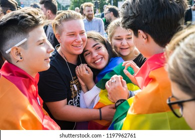 Bucharest, Romania, September 30, 2018. Group of young adults comforting a friend during a lgbtq+ protest to boycott the Romanian referendum on family composition within the constitution.
