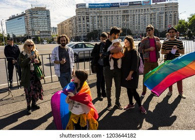 Bucharest, Romania, September 30, 2018. Both traditional and gay families during a lgbtq protest to boycott the Romanian referendum on family composition within the constitution.