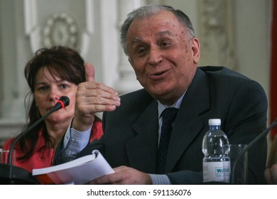 Bucharest, Romania, September 9, 2009: The former president of Romania, Ion Iliescu, speaks in a press conference in Bucharest.