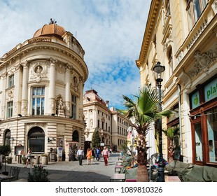 Bucharest, Romania - September 9, 2017: Historical center of Bucharest with its beautiful architecture on Stavropoleos Street, Romania.