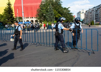 Bucharest, Romania-10, August, 2018: Romanian riot police forces prepare ahead of the anti-government protest held in front of the Romanian Government when police used tear gas and pepper spray