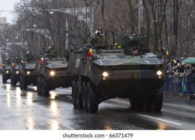 BUCHAREST, ROMANIA-DEC. 1: Military Parade on National Day of Romania, Arc de Triomphe, December 1, 2010 in Bucharest.