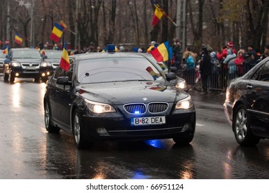 BUCHAREST, ROMANIA-DEC. 1: Military Parade on National Day of Romania, Arc de Triomphe, December 1, 2010 in Bucharest