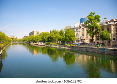 Bucharest, Rumania - 28.04.2018: Dambovita river in Bucharest, Romania