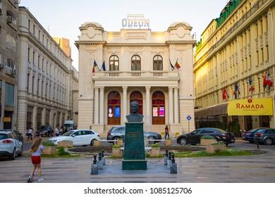 Bucharest, Rumania - 28.04.2018: Odeon Theatre and Ramada Hotel in Bucharest, Romania