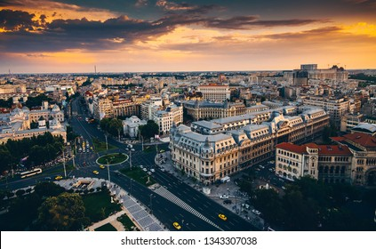 Bucharest view from above during summer sunrise