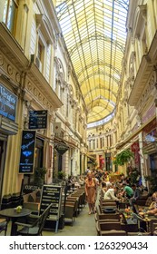 Bucharest/Romania - 07.20.2018: This is a beautiful interior in the city centre of Bucharest, where you can come and to drink or eat sometnig. Romania