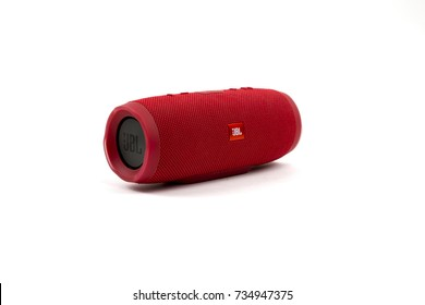 Bucharest,Romania - 14 October, 2017:JBL bluetooth speaker isolated on white background. illustrative editorial.