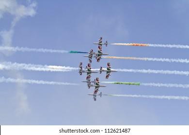 BUCHAREST,ROMANIA - JULY 22: Italian demoteam Frecce Tricolori at Bucharest airshow in Bucharest, Romania on July 22, 2012.