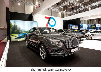 Bucharest,Romania.MARCH 31,2018 : Bentley Bentayga V8 car presented at the Salonul International de automotile Bucharest .  front-engine, all-wheel drive, five-door luxury SUV marketed by British car