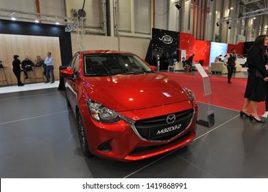 Bucharest,Romania.MARCH 31,2018 : new  Mazda 2 2018 car presented at the Salonul International de automobile Bucharest