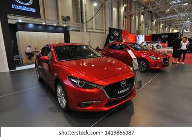 Bucharest,Romania.MARCH 31,2018 : new  Mazda 3 2018 car presented at the Salonul International de automobile Bucharest