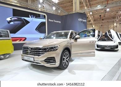 Bucharest,Romania.MARCH 31,2018 : new Volkswagen VW Touareg 2018 car presented at the Salonul International de automotile Bucharest