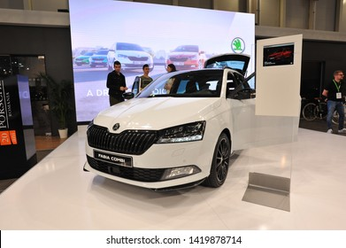 Bucharest,Romania.MARCH 31,2018 :  Skoda FABIA combi car presented at the Salonul International de automobile Bucharest
