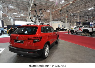 Bucharest,Romania.MARCH 31,2018 : World premiere: metallic red Skoda KAROQ car presented at the Salonul International de automobile Bucharest