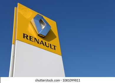 Buchholz, Lower Saxony / Germany - April 22, 2018: Sign at the entrance of a Renault store in Buchholz, Germany - Renault is a French multinational automobile manufacturer