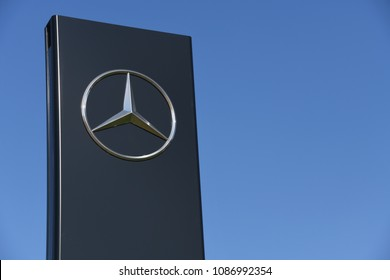 Buchholz, Lower Saxony / Germany - April 22, 2018: Sign at the entrance of a Mercedes store in Buchholz, Germany - Mercedes is a global automobile marque, a division of Daimler AG