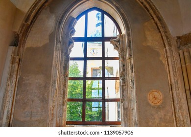 Buchlov, Czech Republic - July 12, 2018: Gothic window in Buchlov castle. Region South Moravia, Czech Republic.