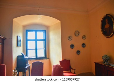 Buchlov, Czech Republic - July 12, 2018: Interior of castle Buchlov. The first building of the castle dates back to the 13th century. Region South Moravia, Czech Republic.