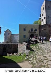 Buchlovice, Czech republic 04/21/2018 Tourists at the entrance to Buchlov castle.