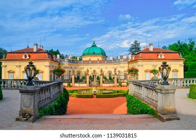 Buchlovice, Czech Republic - July 12, 2018: Chateau Buchlovice is designed in the Italian Baroque style. Region South Moravia, Czech Republic.