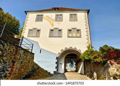 Buchs, St. Gallen / Switzerland - October 22nd 2018: Entrance/Gatehouse into the medieval township of Buchs.