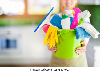 Bucket or basket with cleaning items for wash or house cleaning.