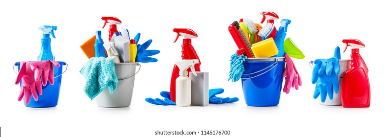 Bucket with cleaning supplies collection isolated on white background. Housework concept, design elements