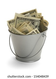 Bucket Filled with Lots of Money Isolated on White Background.