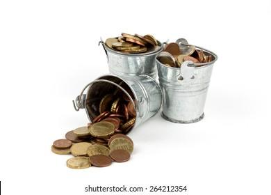 bucket full of money