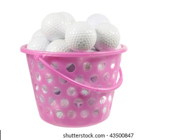 Bucket with golf balls isolated on white