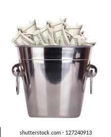 Bucket with money on white background Isolated