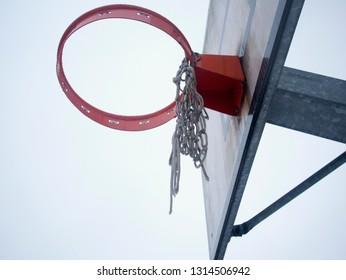 Bucket of playground, seen from below, horizontal image