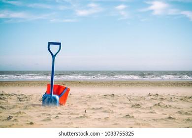 Bucket and spade on an english seaside