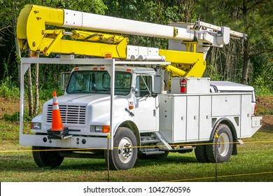 A bucket truck used for electric utility duty.