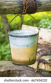 Bucket with water ,old fountain ,decoration ,forest ,iron ,stone ,full ,empty ,garden ,vintage ,hanged ,antique ,drink ,for ,water ,village ,country side ,backyard ,ornament