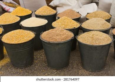 a buckets of corn animal feed