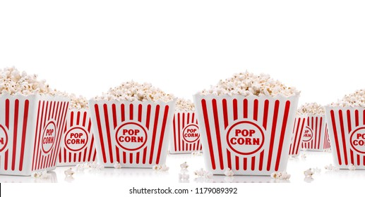 Buckets full with popcorn isolated on white background