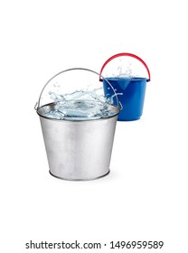 Buckets full of water background