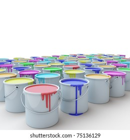 buckets with the paint on a white background