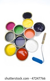 Buckets with paint and a paint roller
