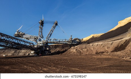 Bucket-wheel excavator mining in a brown coal open pit mine.